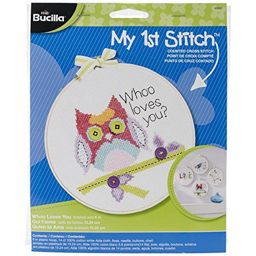Bucilla My 1st Stitch Counted Cross Stitch Kit, 45997 Who Loves You Fun Mini Needlepoint Kit