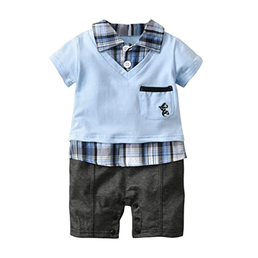 b61274374ec3 Amazon.com  DIGOOD Toddler Baby Boys Checked Top Formal Rompers