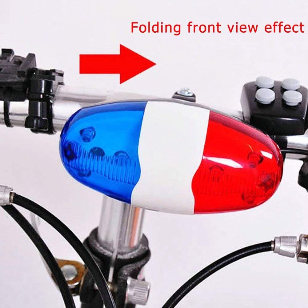CDKJ Muy Ruidoso Coche de polic/ía de la Bicicleta 6 LED de 4 Sonidos tuber/ías de Ciclo de Bell del Cuerno de Sirena 1Pc