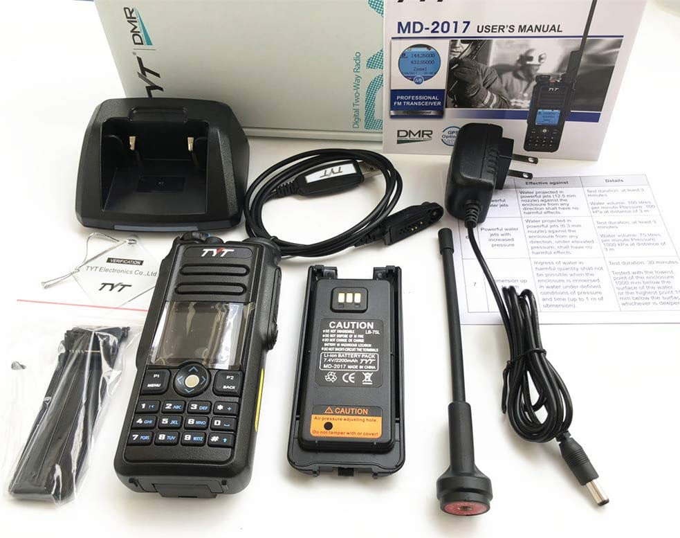 TYT MD-2017 DMR Dual Band Digital Handheld Two Way Radio Transceiver with Programming Cable 201808261745