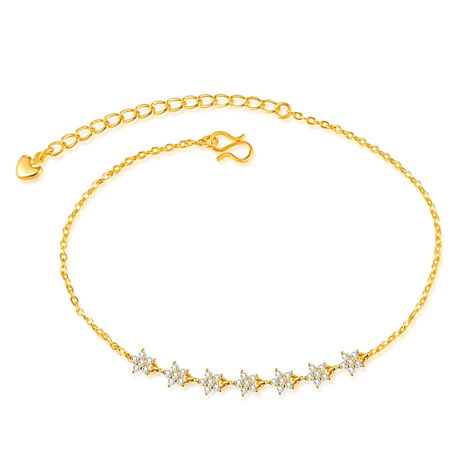 Lucky Stars Chain Ankle Bracelets Lary Jewelry 18K Gold Plated Adjustable Anklet