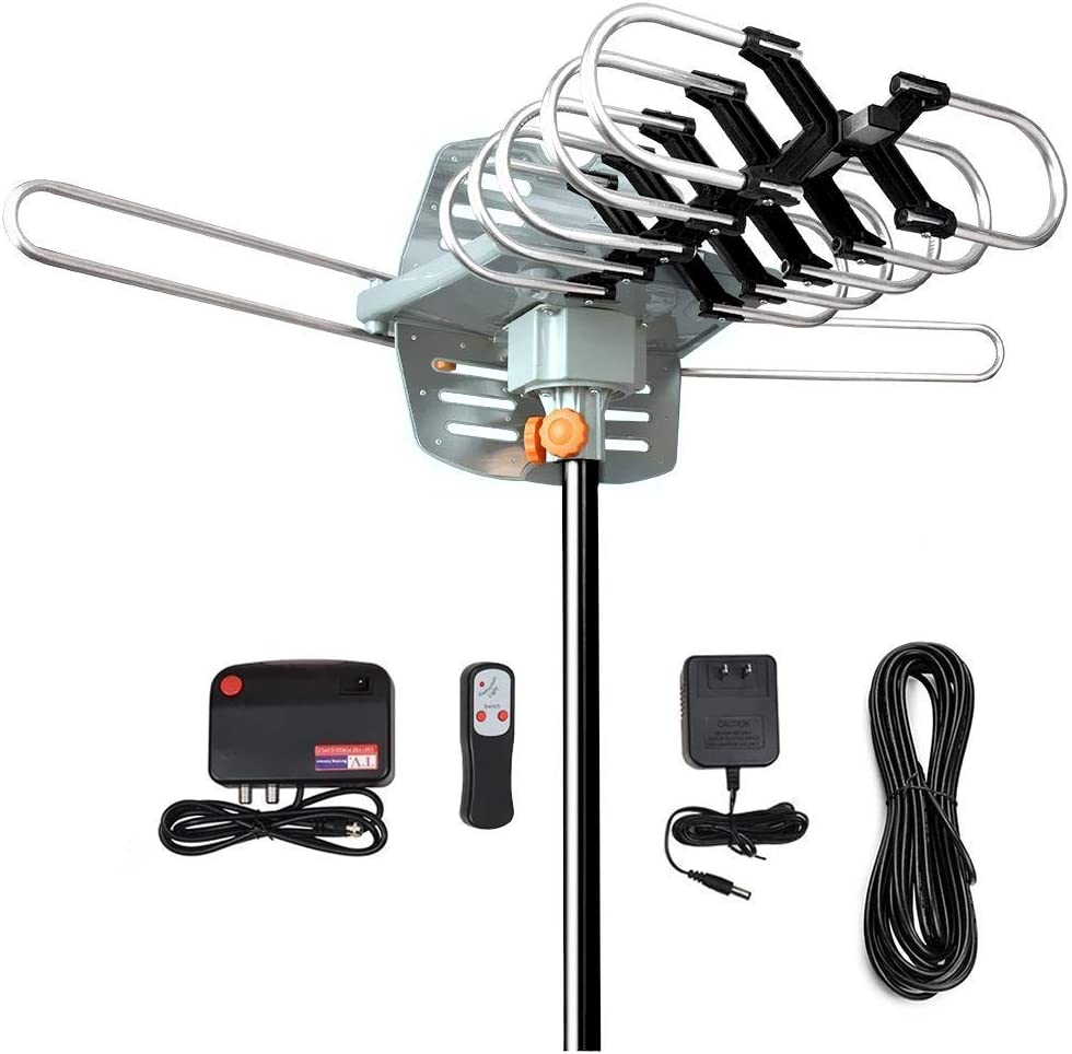 TV Antenna-Outdoor Digital Amplified HDTV Antenna -150 Miles Long Range Support 2 TVs-UHF/VHF/1080P/4K,with Wireless Remote Control & 33 Coax Cable