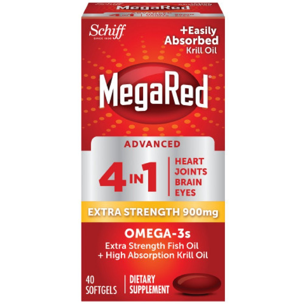MegaRed Advanced 4in1 900mg, 40 softgels - Concentrated Omega-3 Fish & Krill Oil Supplement (Pack of 5)