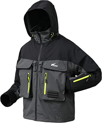 8 Fans Wading Jacket,100% Waterproof Breathable Mens Fly Fishing Jacket For Fishing Hiking Kayaking Hunting Boating Sailing.