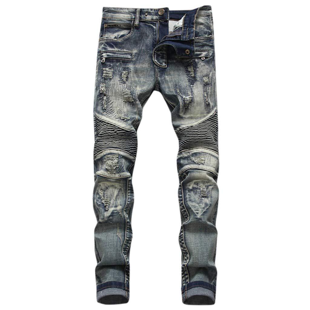 LOVOZO Men's Jeans Denim Distressed Slim Fit Ripped Straight Moto Biker Jeans by LOVOZO