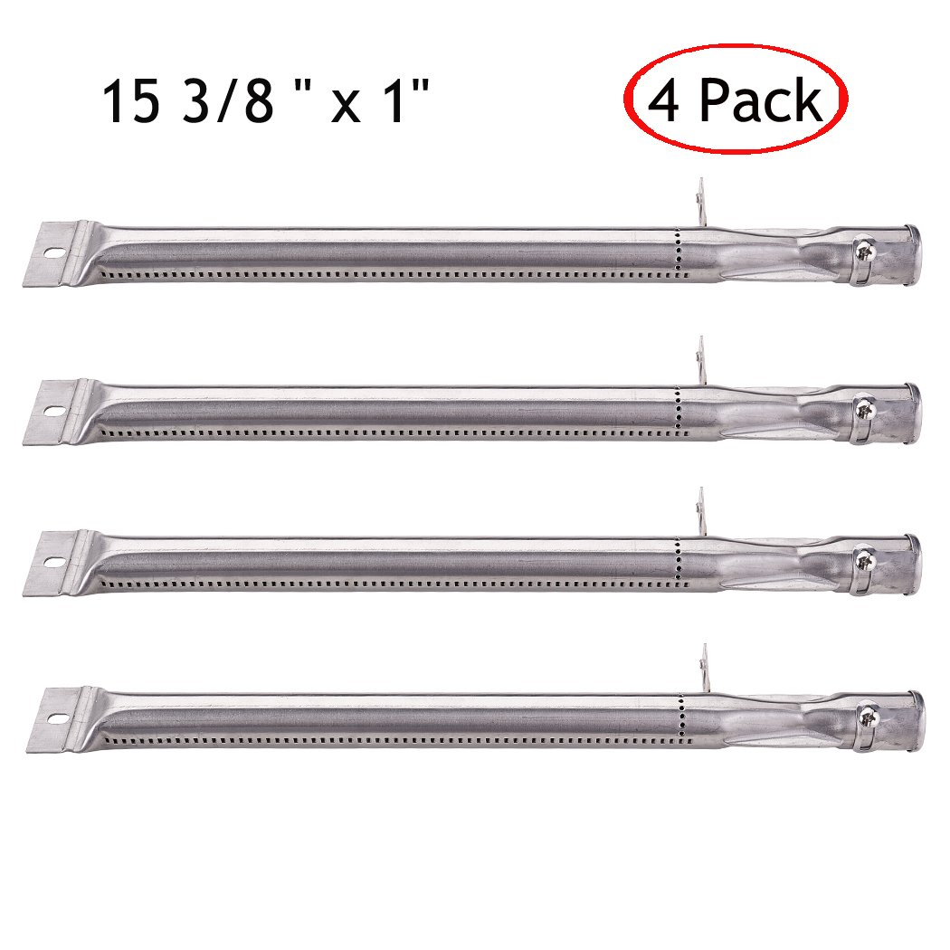 YIHAM KB884 Gas Grill Parts Stainless Steel Pipe Tube Burner Replacement for Kenmore, BBQ Pro, K Mart, Members Mark, Outdoor Gourmet, Lowes Model Grills, 15 3/8 inch, Set of 4 by YIHAM