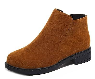 Easemax Femme Classique Petit Talon Low Boots Bottines Brun 38 ... e18ae868d92d