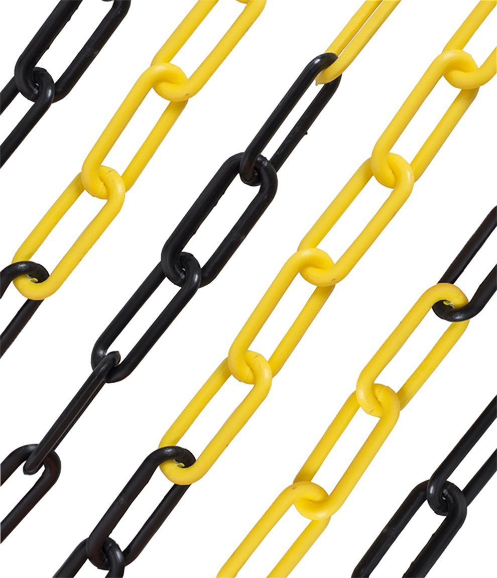 6mm Yellow & Black Plastic Safety Barrier Garden Fence Post Decorative Link Chain (2mtr) SafetyLiftingGear