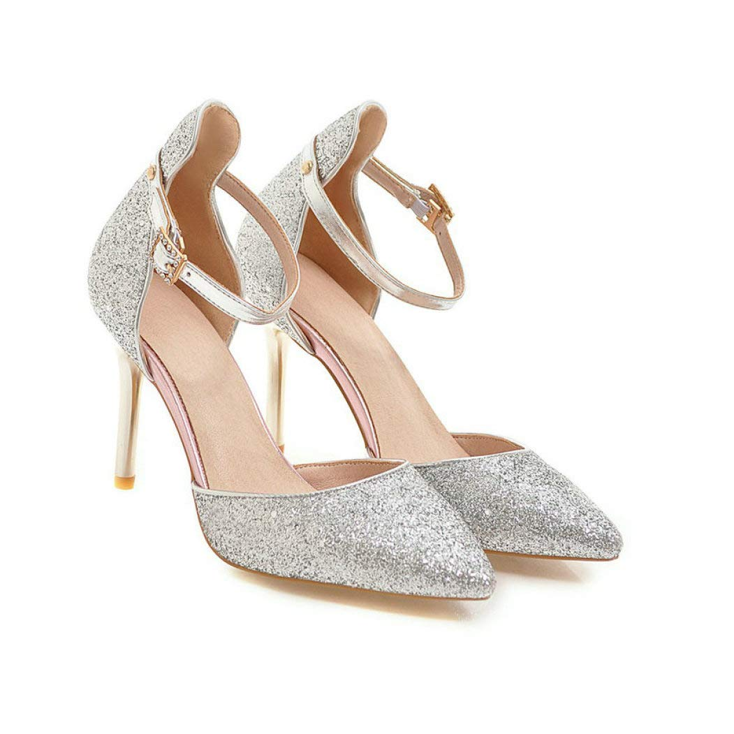Silver GanQuan2018 Women Pumps,Closed Pointed Toe Thin High Heels Ankle Buckle Sexty Sequins shoes