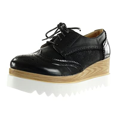 ee9700703af1f Angkorly - Chaussure Mode Derbies Semelle Basket Plateforme Femme Brillant perforée  Talon compensé Plateforme 6.5 CM