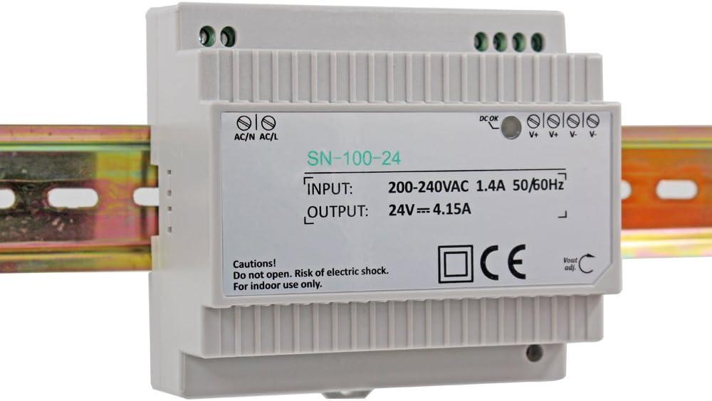 Auforua® Fuente de Alimentación Conmutada carril DIN, 230 VAC/100 W 24V 4.15A, Transformador carril DIN para CCTV y Iluminación LED