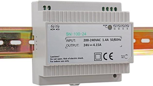 1 Salida de 100 W Montaje en Carril DIN 12 V 7,5 A para Uso Industrial Mean Well HDR-100-12N Fuente de alimentaci/ón