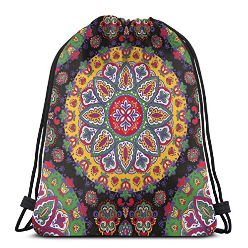 Unisex Drawstring Bag Gym Bags Storage Backpack,Festive Colorful Circles With Summer Flowers And Leaves Ethnic Arabesque Henna Art
