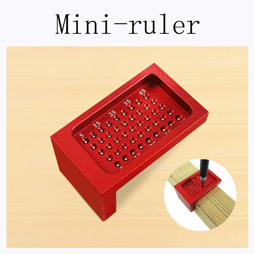 Tensay 50-Hole Woodworking Ruler Aluminum Alloy L-shaped Woodworking Ruler Mini-marker Great Helper for DIY Garden Home