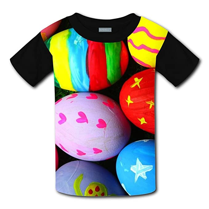 1688beaa245f Amazon.com  UdlJud Kids Summer 3D T Shirts Colorful Easter Eggs Short  Sleeve Tops Tees  Clothing