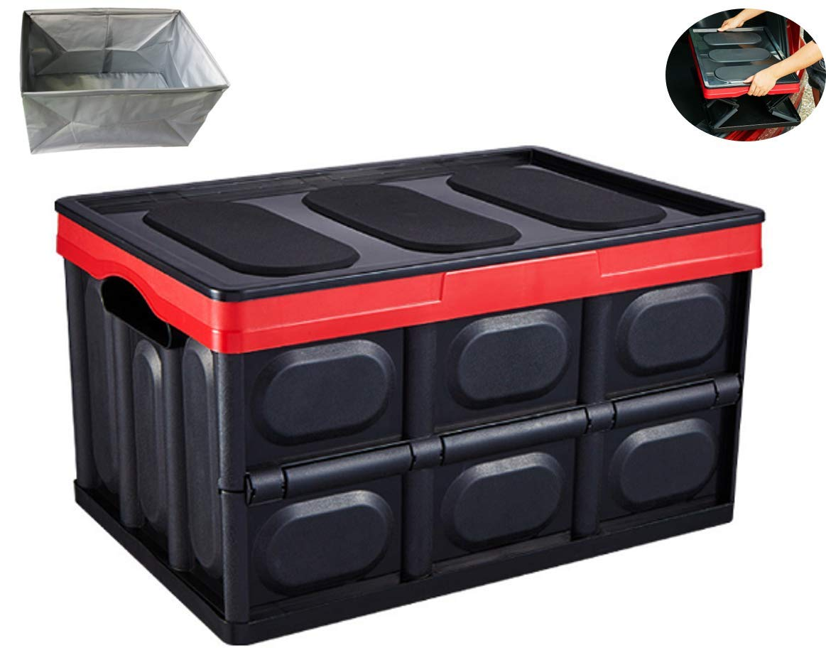 Lotsa Style Collapsible Car Trunk Organizer with Waterproof Bag, Storage Container Cargo Box, Heavy Duty, SUV, Auto, Vehicle, Van, Travel & Camp Trunk Storage (Large, Black + Waterproof Bag) by Lotsa Style