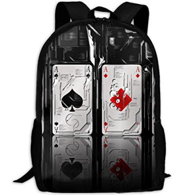 ZQBAAD Cool Robot Poker Luxury Print Men And Women's Travel Knapsack
