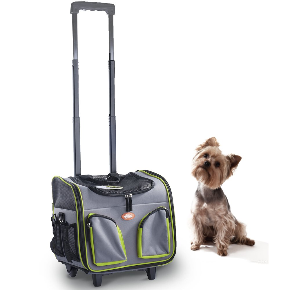 Green Pawise Pet Trolley Bag Rolling Pet Travel Carrier Pet Carrier With Wheels