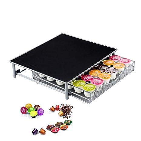Soporte para máquina de café con cajón/Nespresso Cápsulas de café cajón de almacenamiento 36 cápsulas de café Tassimo/Dolce Gusto ...