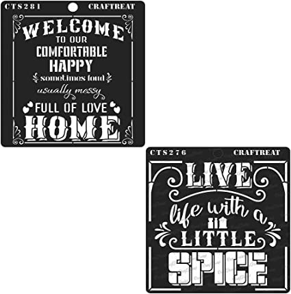 2 pcs Floor DIY Albums CrafTreat Stencil Spicy Life and Welcome Home - Reusable Painting Template for Journal Home Decor Tile 6x6 inches Crafting Scrapbook and Printing on Paper Wall