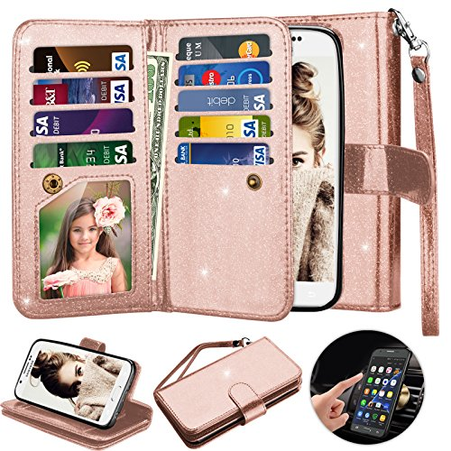 Galaxy S6 Case, S6 Wallet Case, Njjex [9 Card Slots] Shimmering Powder PU Leather Protective Flip Cover [Detachable] [Kickstand] & Wrist Strap For Samsung S6 S VI G9200 GS6 All Carriers - Rose Gold (Galaxy S 5 Sprint Used)