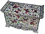 Mother of Pearl Butterfly Design Jewelry Box Display Nacre Jewellry Case (Middle)