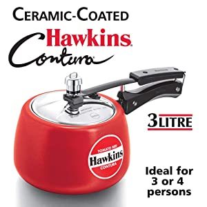Hawkins Ceramic CTR30 CTR 30 Coated Contura Pressure Cooker, 3 L, Red