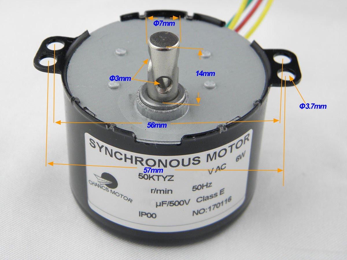 CHANCS 50KTYZ AC 220V motor/éducteur 10RPM CW//CCW Controlable 6W Puissance Torque 7.5Kg.cm Uple /élev/é Aimant Permanent Moteur Synchrone