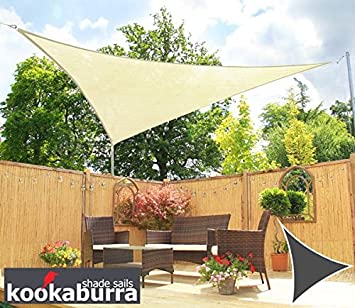 Kookaburra Water Resistant Sun Sail Shade Canopy in Ivory - 3m Triangle  sc 1 st  Amazon UK : sun sail shade canopy - memphite.com