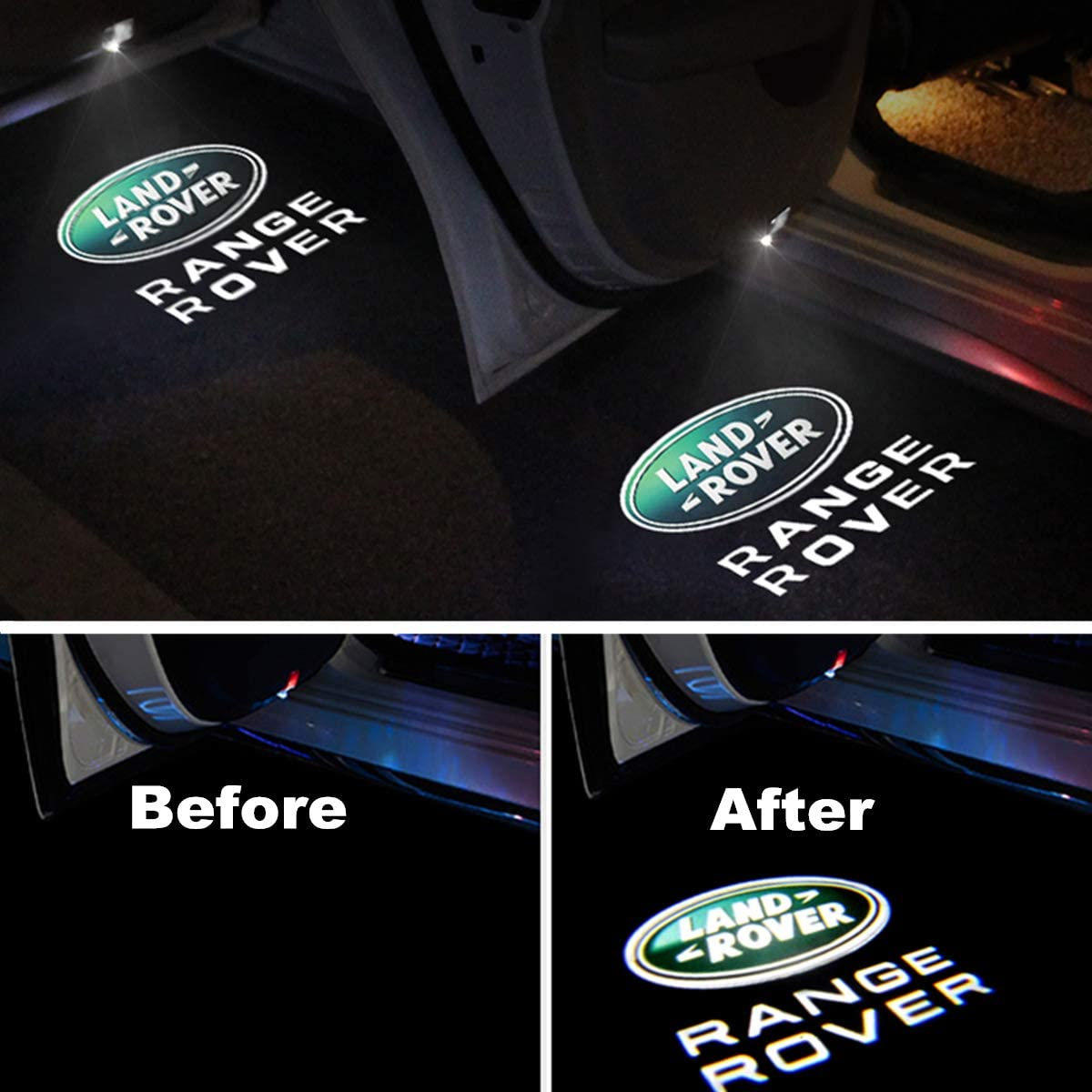 Car Led Door Lights Projector Logo Shadow Ghost Light for Land Rover Range Rover 2007-2019 Compatible Accessories 4 packs