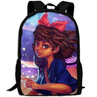 Backpack for Girls Boys, Zipper School Bookbag Daypack Travel Rucksack Gym Bag African American Black Girl Art | Kids' Backpacks