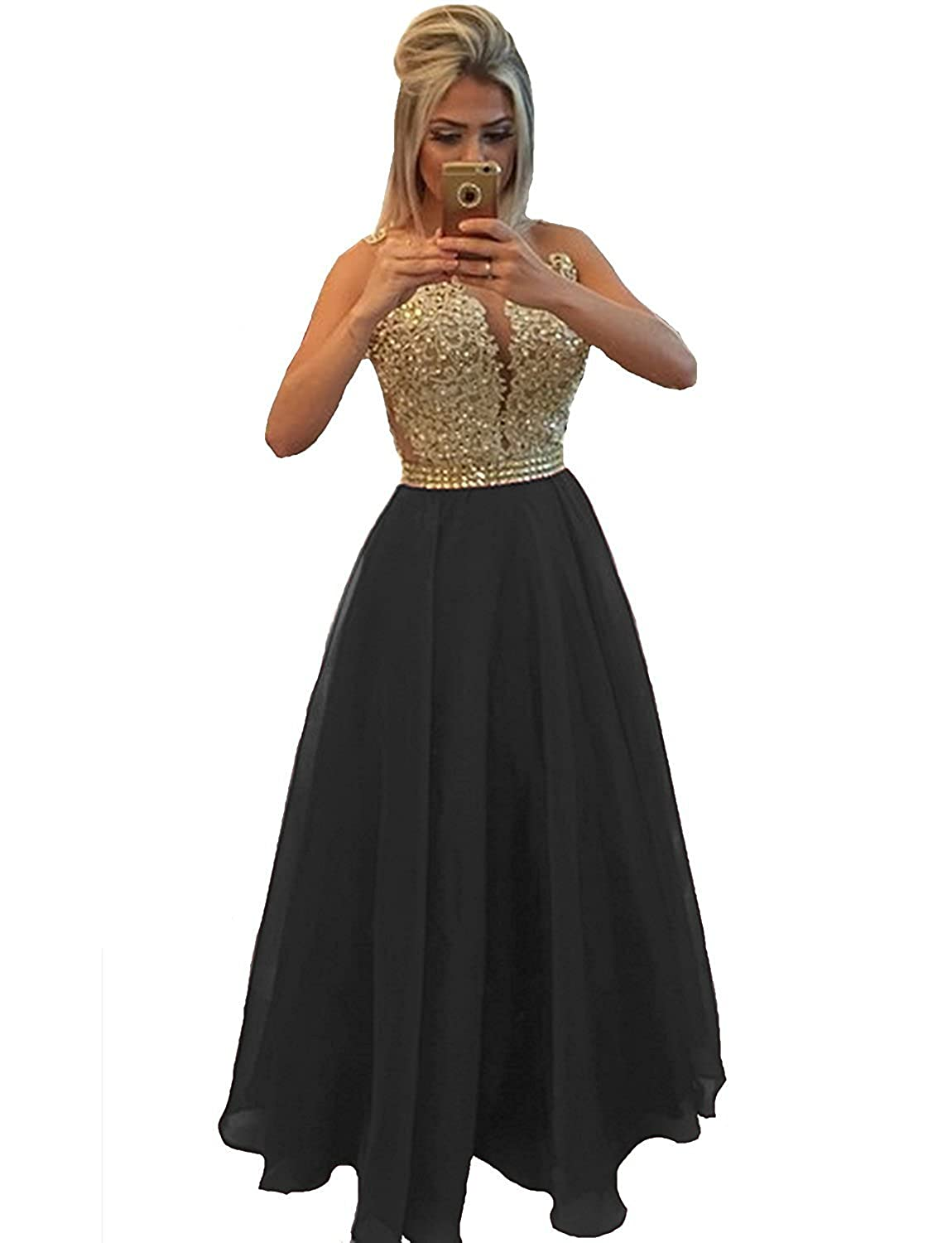 New Black LISA.MOON Women's V Neck Long Sleeves Back Hole Lace Applique Pearl Evening Gown