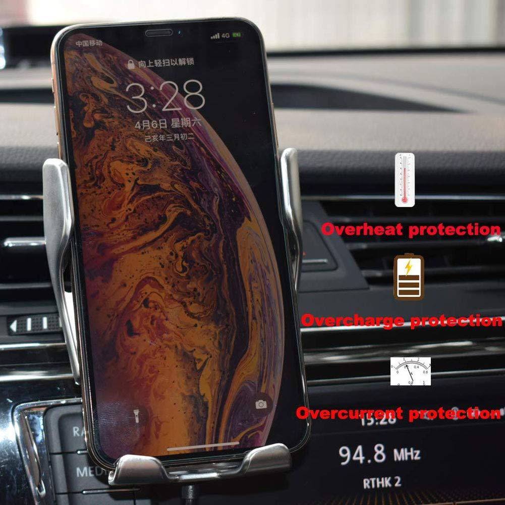 Gizayen Supporto per Caricabatterie per Auto Wireless bloccaggio Automatico 12 W Sensore Intelligente Ricarica Rapida Porta Telefono per Auto Qi Presa dAria