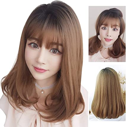 58SD pelo corto peluca de color marrón oscuro mediano a largo ...