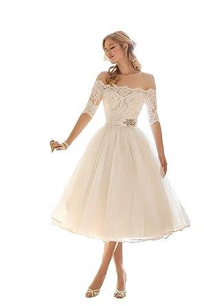mingxuerong hochzeitskleid weiss kurz spitze tull damen langarm knielang brautkleid amazon de bekleidung