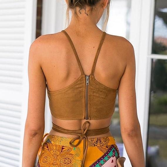 Amlaiworld Tops Mujer Tapas del Tanque del Bustier del Sujetador del Chaleco Camisa Corta Blusa de la Camisa de Cami XL
