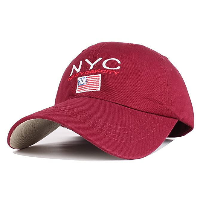 Vankerful Unisex Baseball Cap Cotton Hats Letter NYC Embroidered Adjustable  Six Panel Cap Sun Cap Strapback 17e1be227572