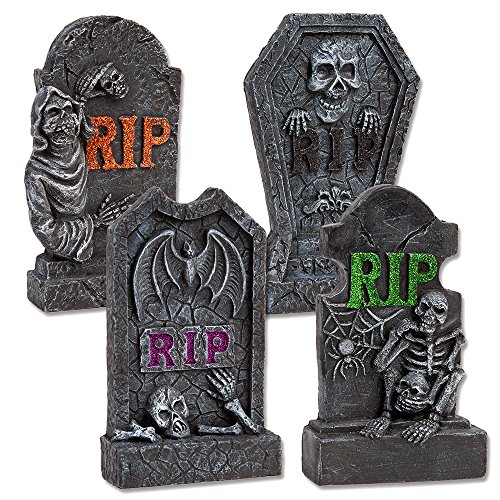 Gift Boutique Halloween RIP Tombstones, Set of 4