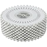 480pcs White Decorative 3mm Round Manmade Pearl Head Corsage Sewing Pins Straight Dressmaking Pins