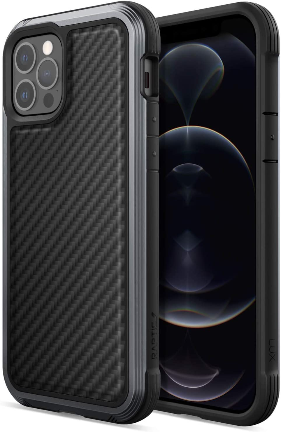 Raptic Lux Case Compatible with iPhone 12 Case & iPhone 12 Pro Case, Strong Durable Thin Cover, Impact Resistant Rubber, Wireless Charging Compatible, Fits iPhone 12 & 12 Pro, Black Carbon Fiber