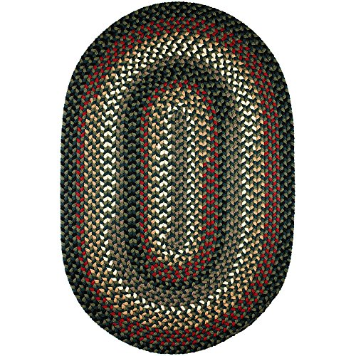Super Area Rugs Santa Maria Braided Rug Indoor Outdoor Rug Washable Reversible Green Patio Deck Carpet, 5′ X 8′ Oval Review
