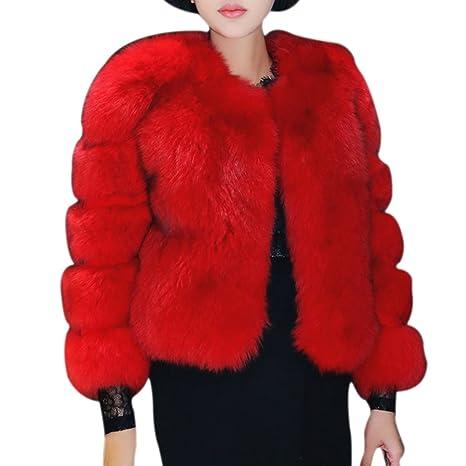 LaoZan Cárdigan Chaqueta Abrigo de Piel Artificial Corto Elegante encantador y Cálido para Invierno - Rojo