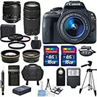 Canon EOS Rebel SL1 18MP Digital SLR with US Warranty &Canon EF-S 18-55mm f/3.5-5.6 IS STM Lens & EF 75-300mm f/4-5.6 III & HD 58mm wide angle & Telephoto Lens +Total 32GB of Memory +Deluxe Bundle At A Glance Review Image