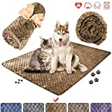 """wonlex Super Soft and Fluffy Pet Blanket, Reversible Microplush Blanket for Pet Dog Cat Puppy Kitten,Snuggle Blanket for Couch, Car, Trunk, Cage, Kennel, Dog House 50""""x40"""" (Khaki)"""