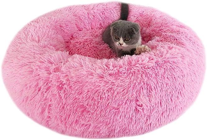 Mooyod Coussin En Forme De Donut Pour Chat Ou Chien Rose 40 Cm