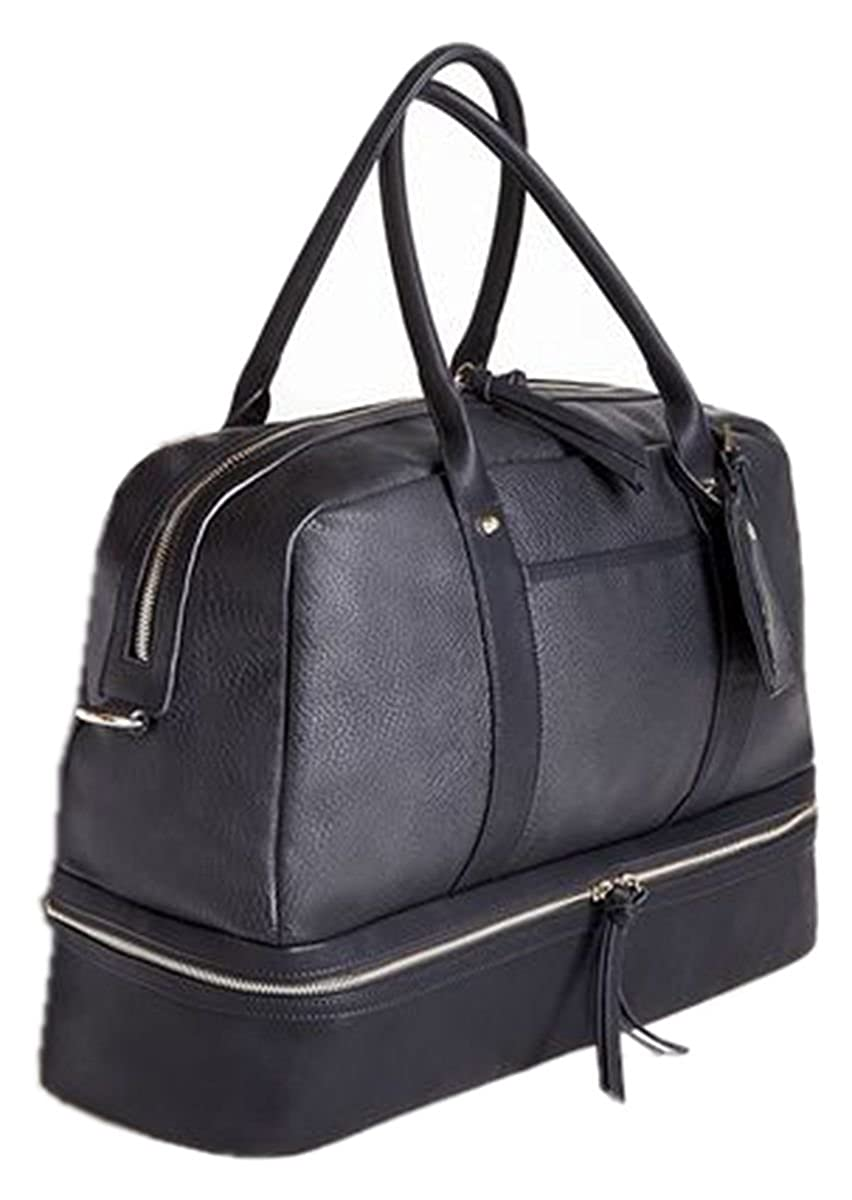 Black Leather Duffle Travel Bag VANORIG Multifunction Tote Bag