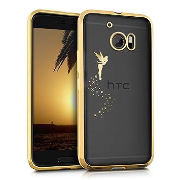 kwmobile Funda para HTC 10 - Carcasa [Trasera] de [TPU] con diseño de Hada en [Dorado/Transparente]
