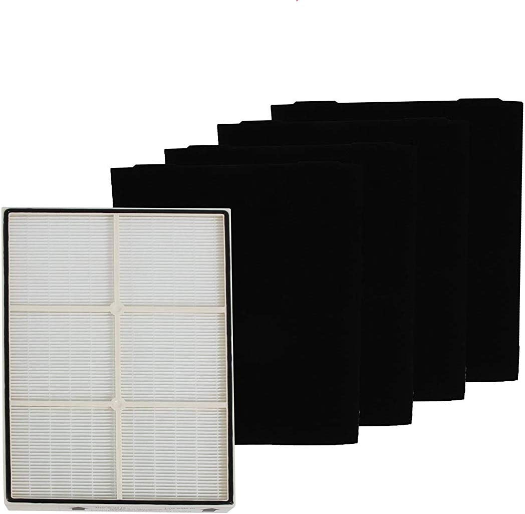 COMPLETE SET Compatible with Whirlpool 1183054K (1183054) HEPA Filter PLASTIC FRAME and 4 Carbon Filters 8171434K 8171434 Compatible with Whispure Air Purifier Models AP350 AP450 AP510 AP45030HO