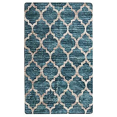 Lahome Moroccan Area Rug -3' X 5' Faux Wool Non-Slip Area Rug Accent Distressed Throw Rugs Floor Carpet for Living Room Bedrooms Laundry Room Decor (3' X 5', Blue) - EXCLUSIVE DESIGN CONCEPT - Lahome Area Rug's pattern is distinctive, which own fine workmanship and has a variety of patterns to choose, is a great decoration for your home. They're a great way to show your personal style and suit the fussiest of feet. NON-SLIP BACKING - Crafted with the highest quality 100% faux wool fibers with skid resistant TPR backing(No Additional Rug Pad Needed), Non slip latex backing design is an ideal for laminate and wooden floor surfaces. DIMENSIONS - The Lahome rug size is 3'x 5' (90 x 150 cm), surprisingly soft for being touch friendly and plush yet stand up to high traffic, which is comfortable, warm and breathable, providing great comfort for your bare feet. - living-room-soft-furnishings, living-room, area-rugs - 61jBA2SnosL. SS400  -