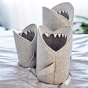 Techecho Laundry Baskets Kids Cartoon Folding Felt Shark Laundry Hamper Toy Storage Baskets Storage Box Bin (Color : Gray, Size : M)